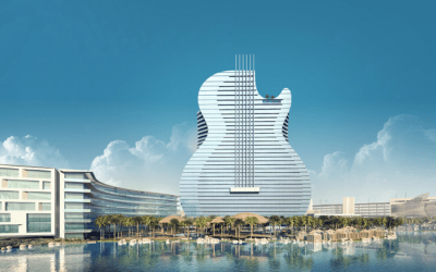 Seminole Tribe Tops Off $1.5 Billion Guitar-Shaped Hotel in Hollywood